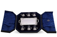 Picture of A SET OF SIX PEG GLASSES WITH SILVER TRAY