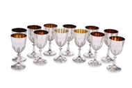 Picture of A SET OF TWELVE GOLD GILDED SILVER GOBLETS