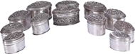 Picture of A COLLECTION OF TWELVE BURMESE SILVER OVAL BOXES
