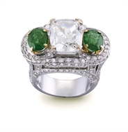 Picture of A VERY IMPRESSIVE DIAMOND AND EMERALD RING