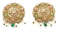Picture of A PAIR OF ATTRACTIVE DIAMOND, RUBY AND EMERALD EAR TOPS