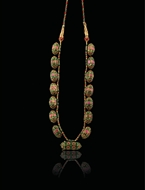 Picture of AN ATTRACTIVE RUBY AND GREEN ENAMEL MADALIA (NECKLACE)