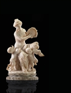 Picture of A CONTINENTAL MARBLE FIGURE OF A LADY CENTAUR PLAYING THE TAMBURA