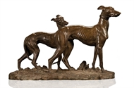 Picture of A SCULPTURE OF TWO GREY HOUNDS IN BRONZE WITH RICH PATINA